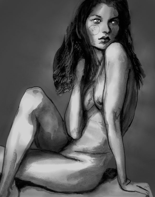 Painting by Danny Roberts of Kate Moss Nude irving penn photo
