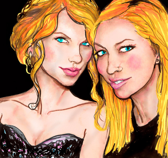 a Painted Portrait of Taylor Swift and Miley Cyrus sister, Brandi Cyrus by Danny Roberts