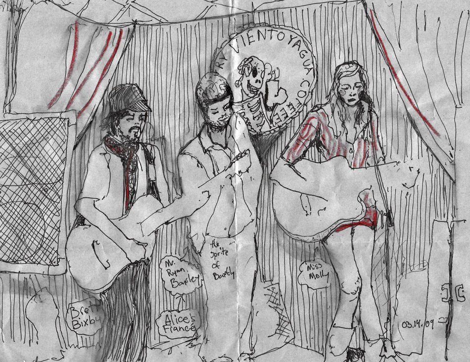 Danny Robets Art Sketch of Ryan Baxley and Molly Jenson Preforming music live.
