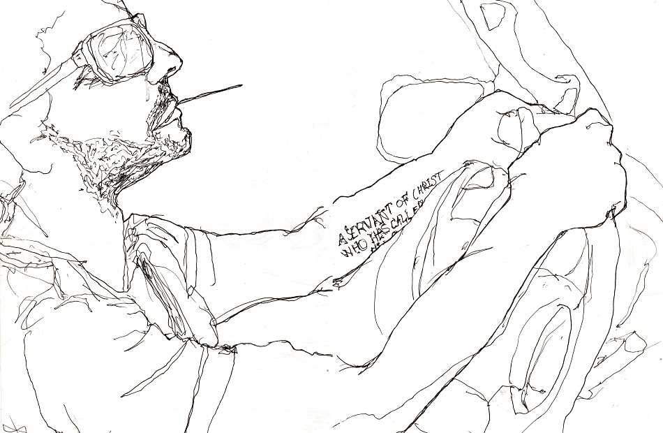Danny Rpberts line drawing of musician ryan baxley dricing a car with a tattoo