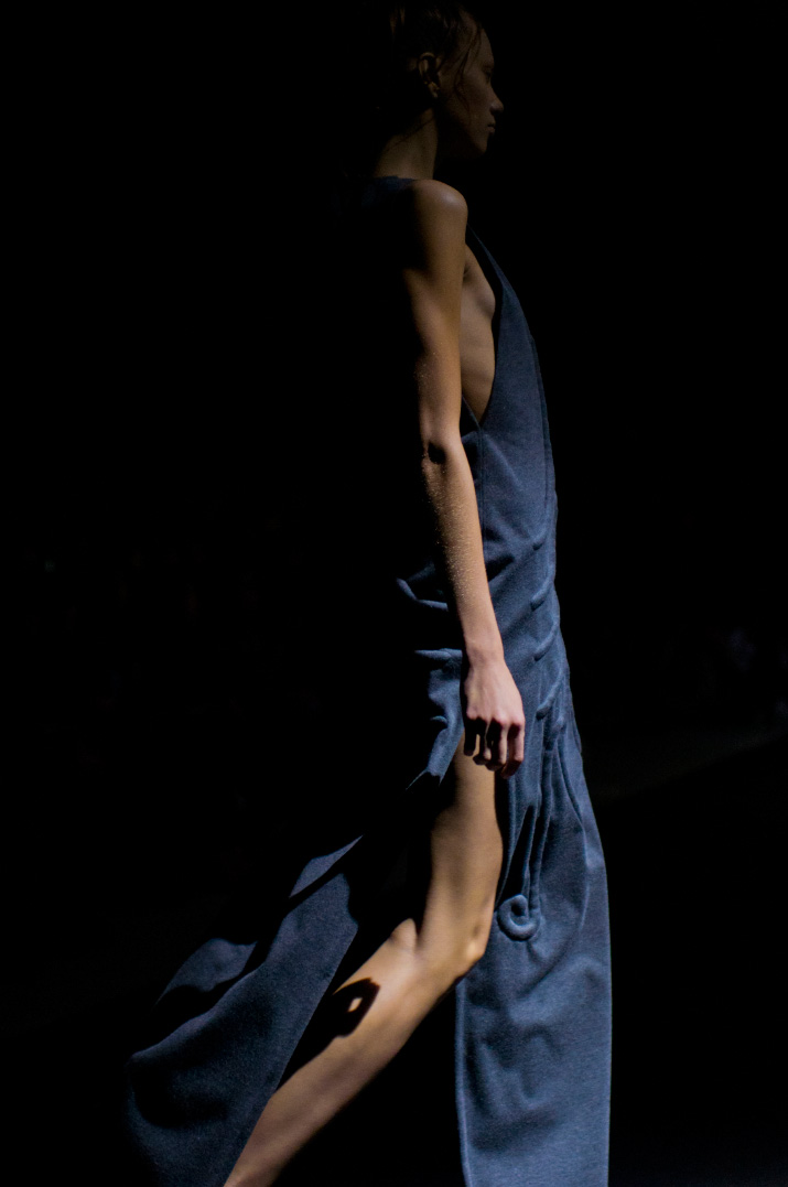 Picture by Fashion Photographer Danny Roberts of a model in a blue dress from the Christian Dada Spring 2012 show during Tokyo Fashion Week
