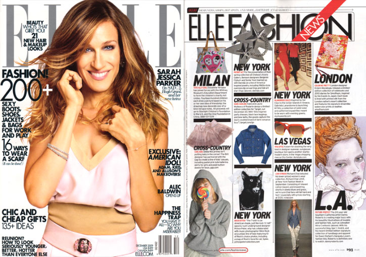Elle Magazine December issue with sarah jessica parker on the cover plus page 194 were Danny Roberts feature