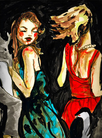 Ia quick Sketch by Danny Roberts of Two Girls Dancing, the colors are red and blue