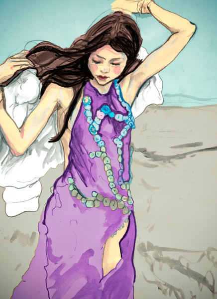 Artist Danny Roberts painting of a girl Standing in the wind