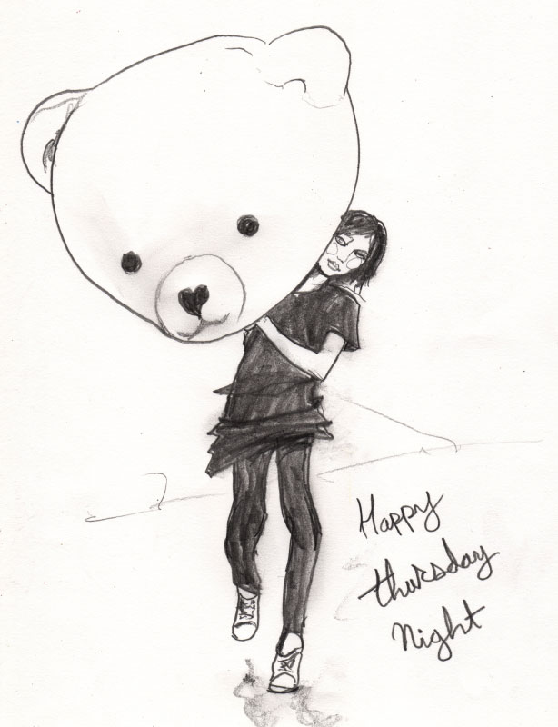 Danny Roberts sketch of a girl and a bear head