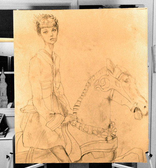 This is a sketch on wood Danny Roberts did of of a girl on a horse. This is the Artist 5th oil Painting