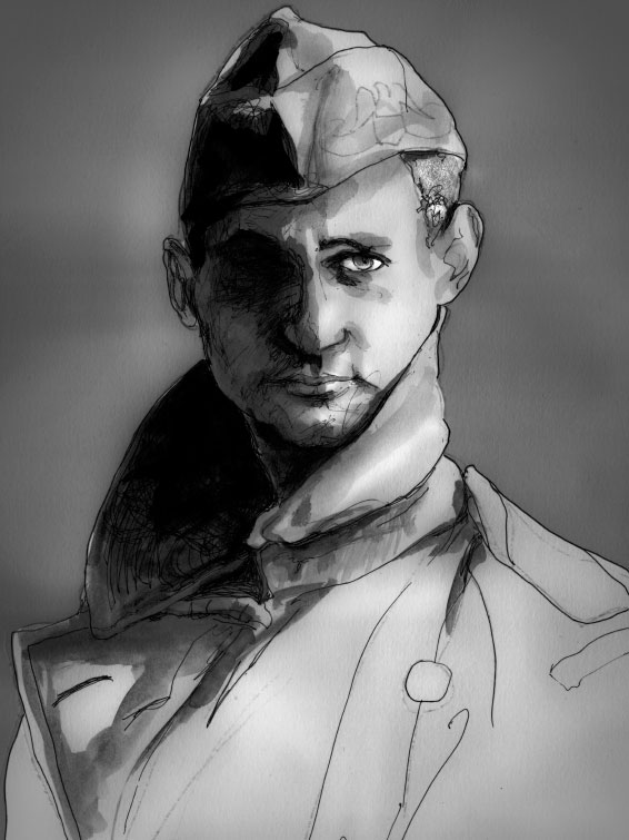 Danny Roberts Painting of Photographer Irving Penn Self Portrait of him in Military uniform