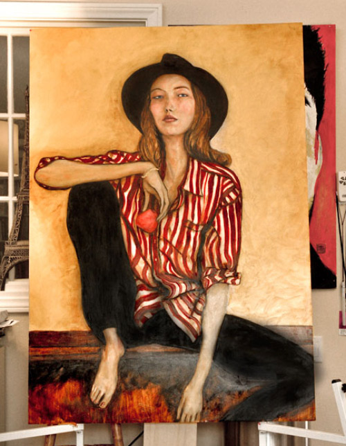 This is an update picture of Artist Danny Roberts Oil Painting of Sophie Ward