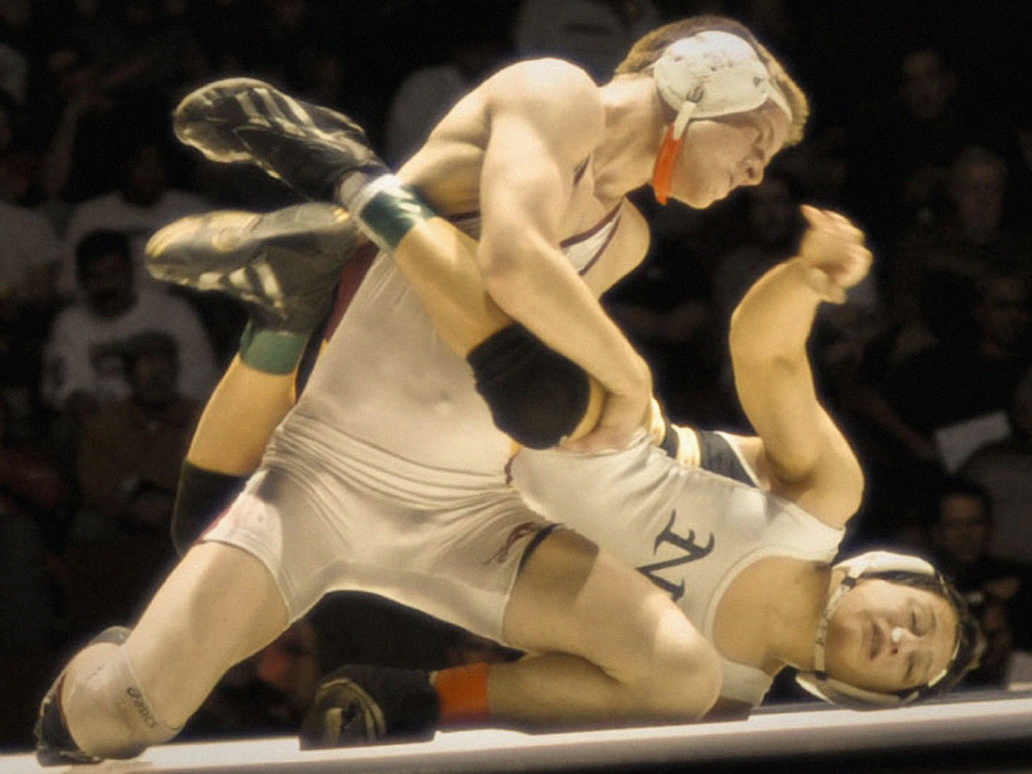 two boys wrestling in state finals