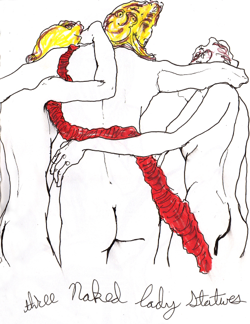 Artist danny roberts figure drawing from Danny Roberts Book of Nudes. It is of three naked statues.