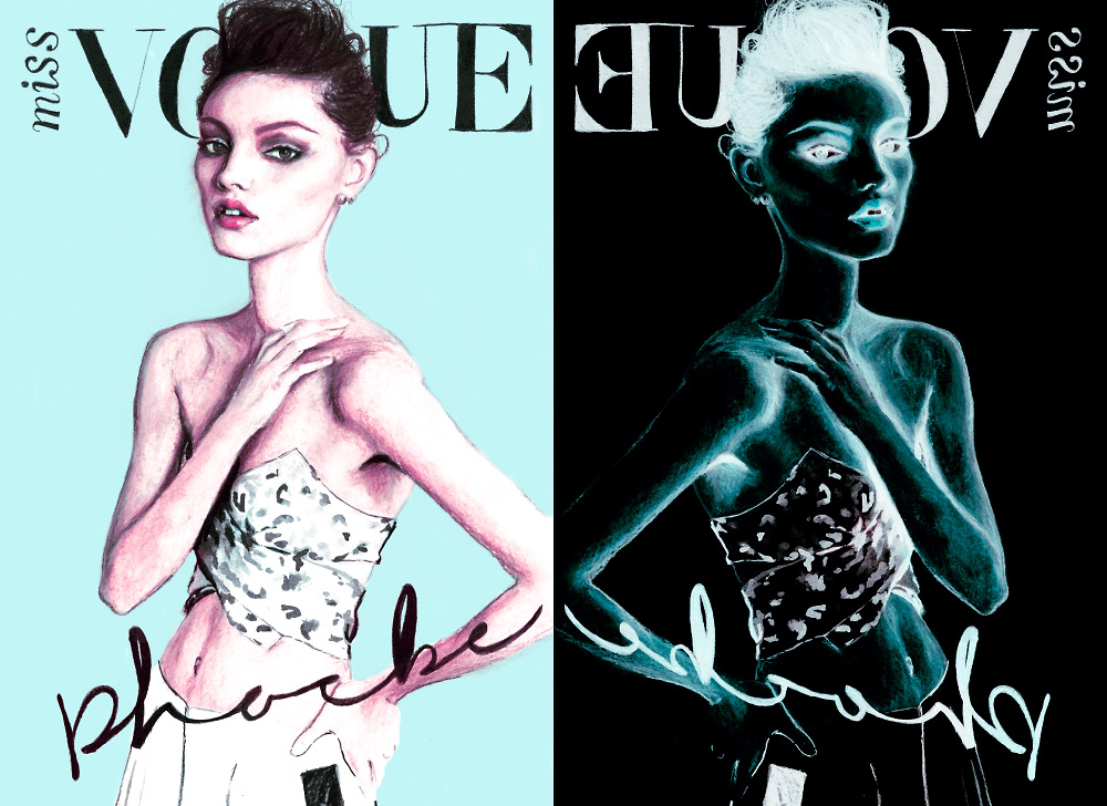 Artist Danny Roberts reinterpreted Magazine Cover of phoebe tonkins on miss vogue Australia 12th June 2013