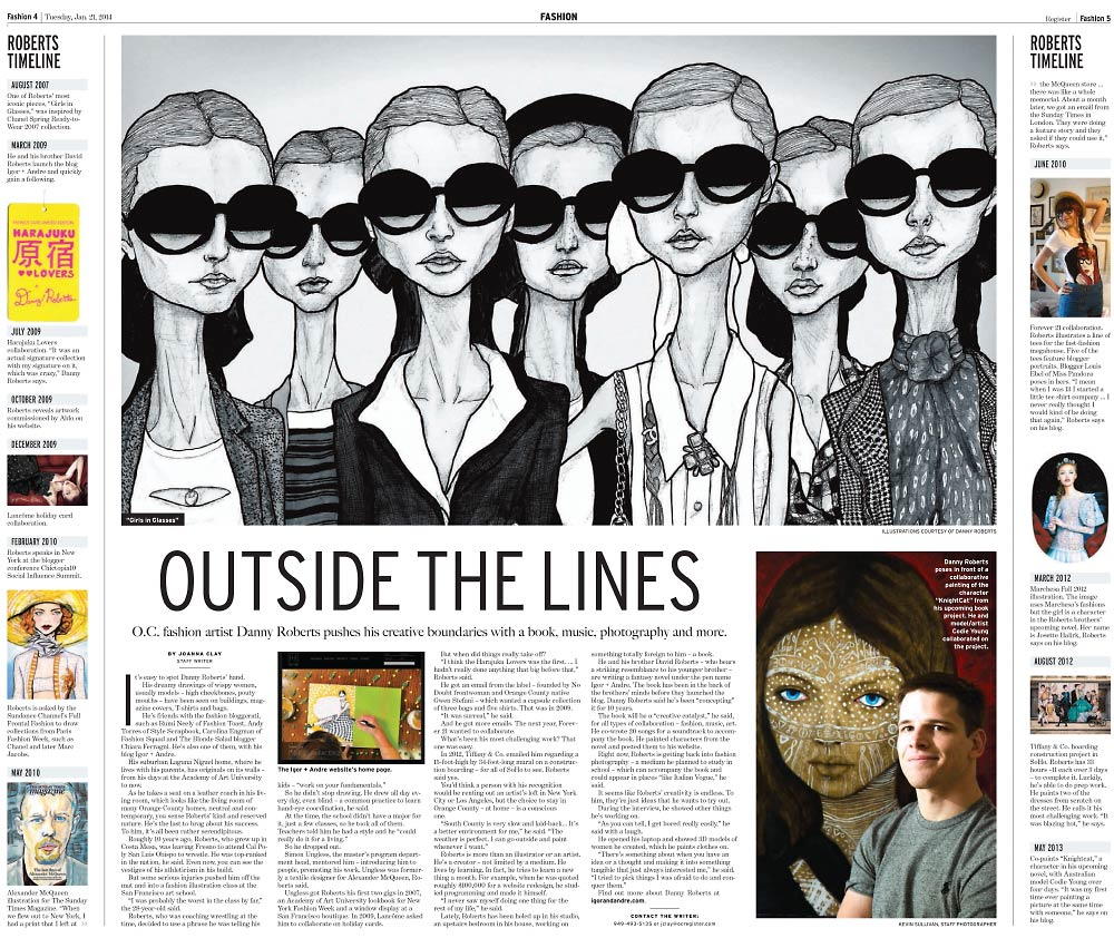 Two page Article in the orange county register on igor and andre Artist Danny Roberts