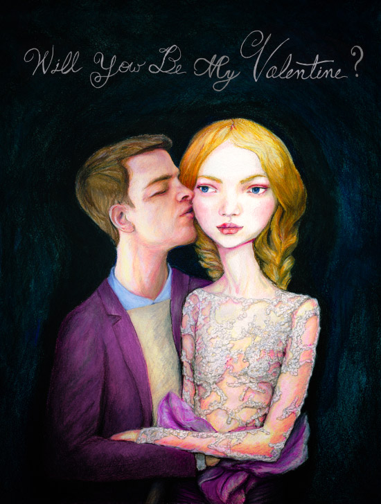 Artist Danny Roberts self portrait 2014 Valentine Kissing a girl in Marchesa spring 2012