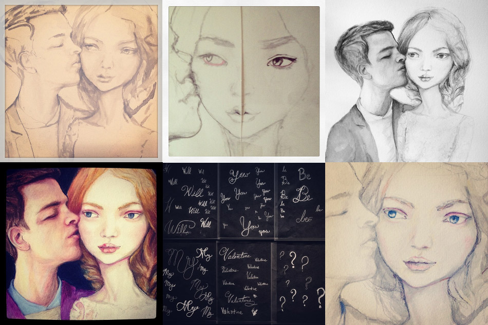 Instagrams of Artist Danny roberts of his 2014 valentine of girl drawing process and boy kissing part of the series on love