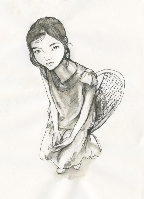 Artist Danny Roberts Pen and Coffee sketch of Korean ulzzang model jung hye won, ahyiseukeurimsong