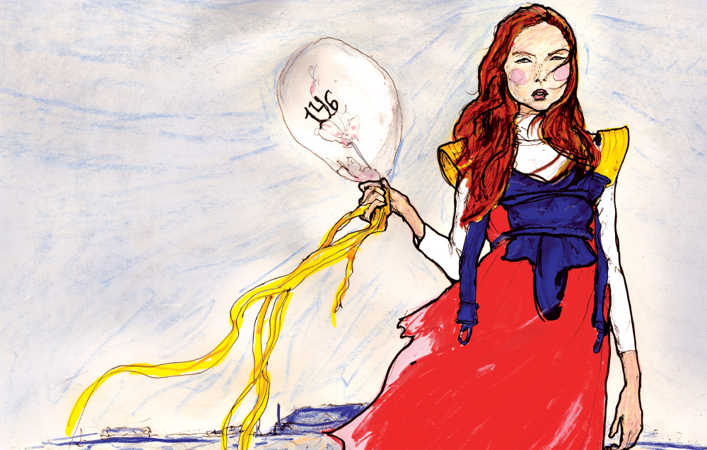 Danny Roberts Art of red head Lily Cole Holding a Ballon in her hand