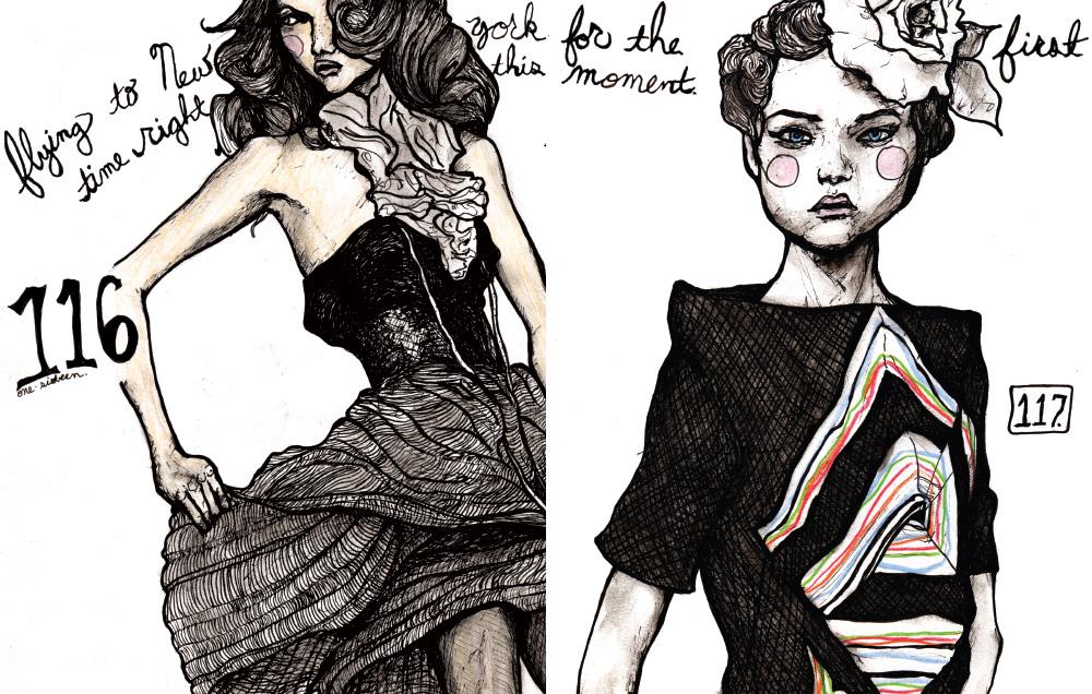 Danny ROberts Fashion Illustration Character Sketchbook Drawing of Gemma Ward