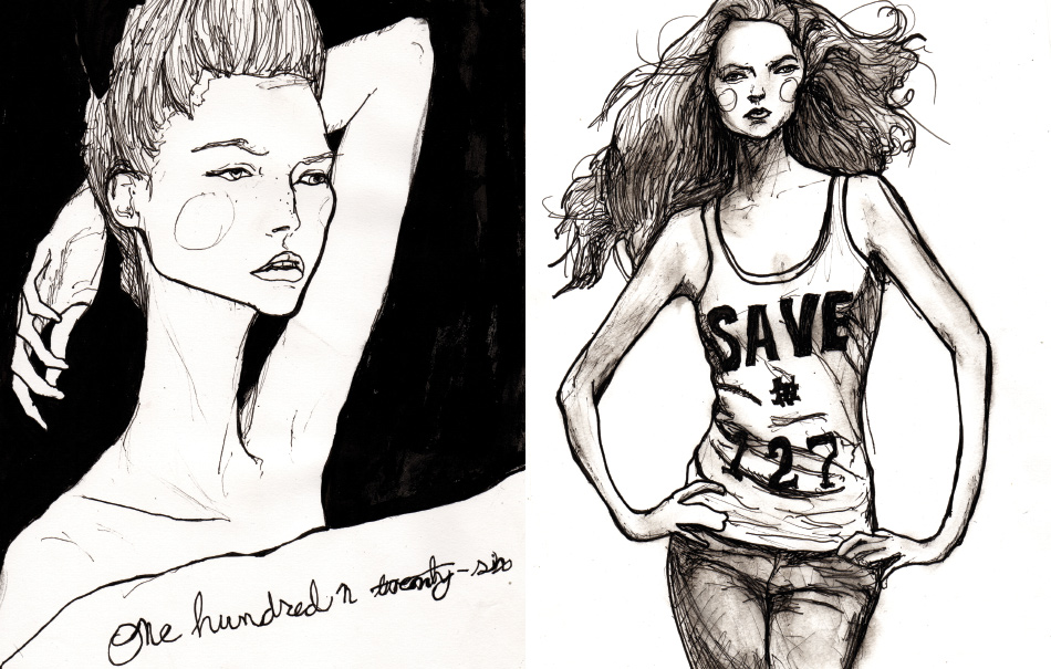 Danny Roberts Character Sketchbook Drawings of Models Lily Cole and Gemma Ward