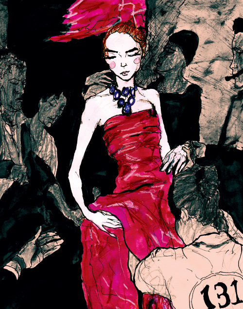This a drawing sketch by Danny Roberts of Lily Cole backstage at a Dior show out of Danny Roberts 131 Chartactersketchbook