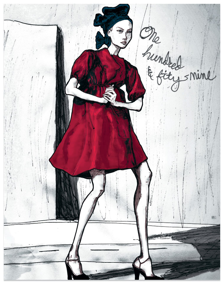 This Gemma Ward Drawing is one from danny roberts character Sketchbook Standing in a red dress