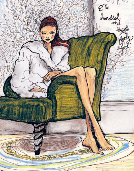 A Drawing of Lily Cole sitting in a chair Painted By artist Danny Roberts