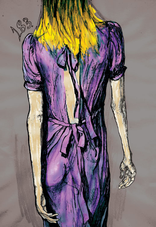 Drawing of Gemma Ward with her Back turned walking down the runway by Artist Danny Roberts