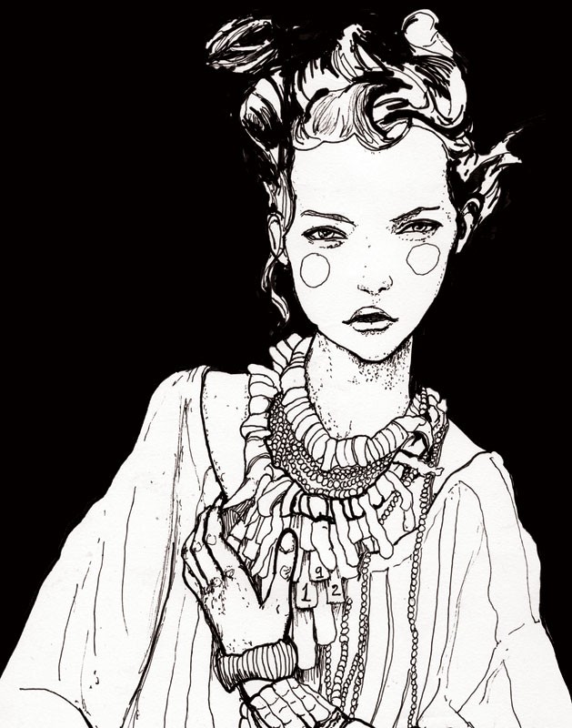 Gemma Ward Drawing by Fashion Artist Danny Roberts for his Character Sketchbook