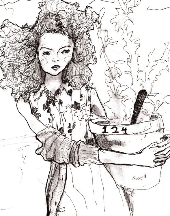 fashion Sketch of model lily Cole by Artist danny roberts