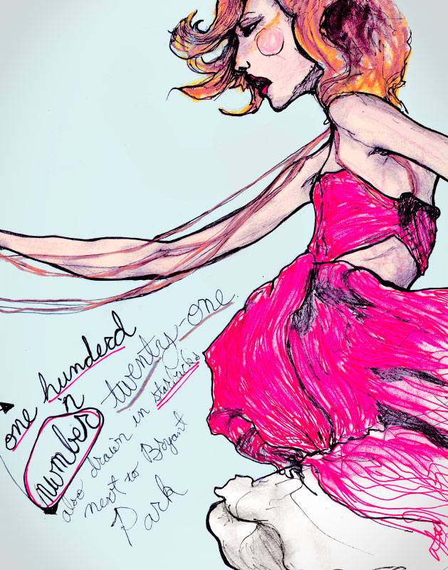 Danny Roberts Drawing Drawing of Gemma Ward from his character sketchbook while he was at New York fashion week in 2007