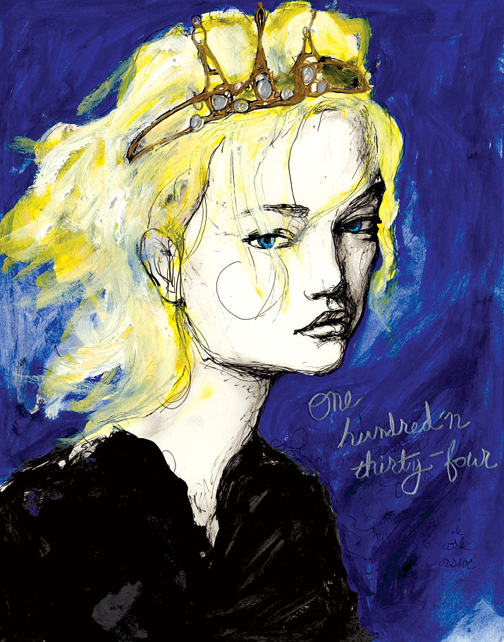 Artist Danny Roberts Painting of model Gemma Ward for his character sketch book 134