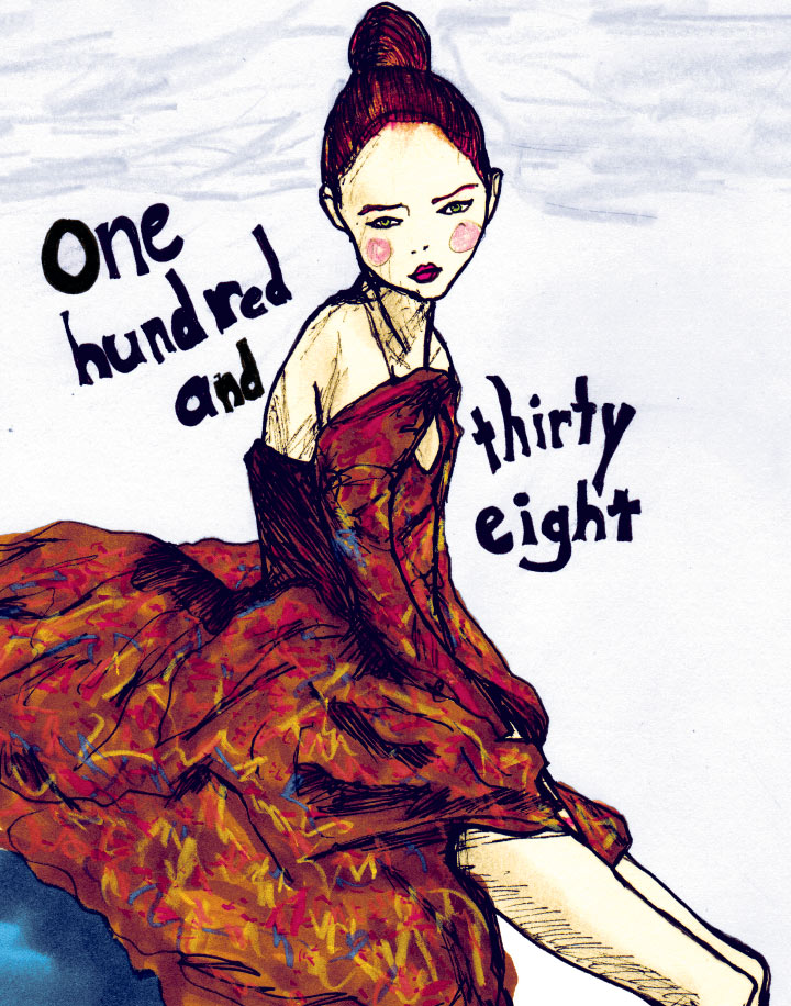 Painting of Lily Cole by Fashion Artist Danny Roberts number 138 from his Character Sketchbook