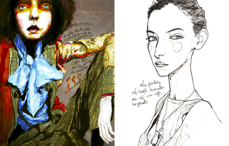 Theses illustrations are a few pages out of Artist Danny Roberts' Lily Cole and Gemma Ward character sketchbook