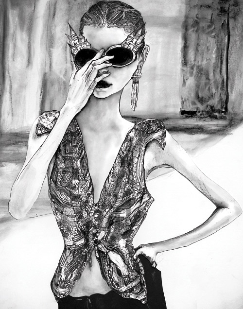 A Drawing Danny Roberts did for Sophie Ward of her sister Gemma Ward.