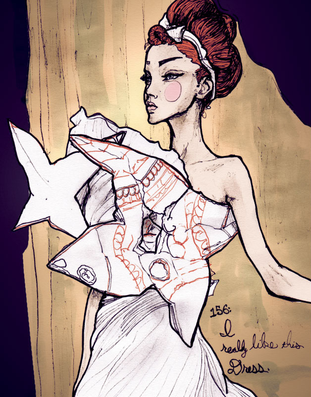 This Sketch of Lily Cole in Christian Dior Collection is From Fashion Artist Danny Roberts